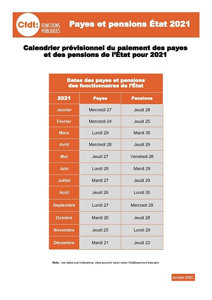 Calendrier Paiement Rente Accident Travail 2022 CFDT   État : Calendrier des payes et pensions 2021