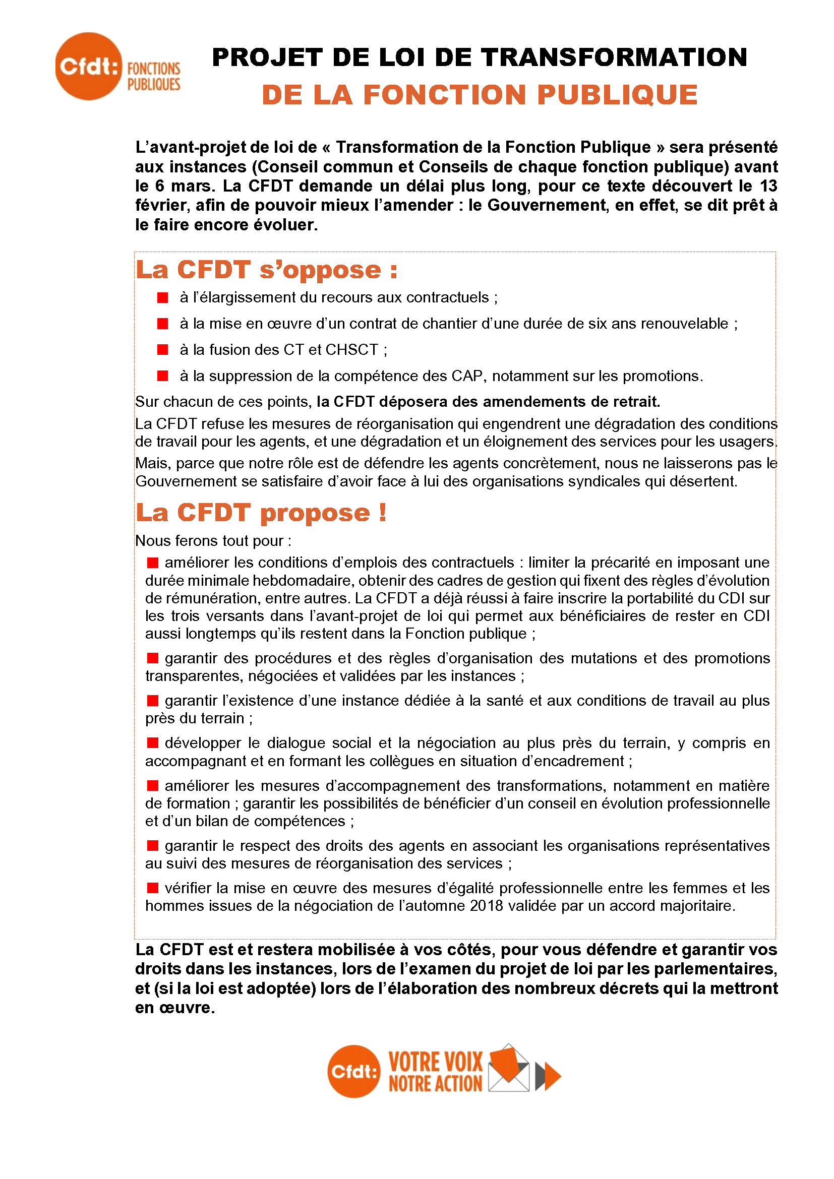 3698b81849b CFDT - Projet de loi « Transformation de la Fonction publique »